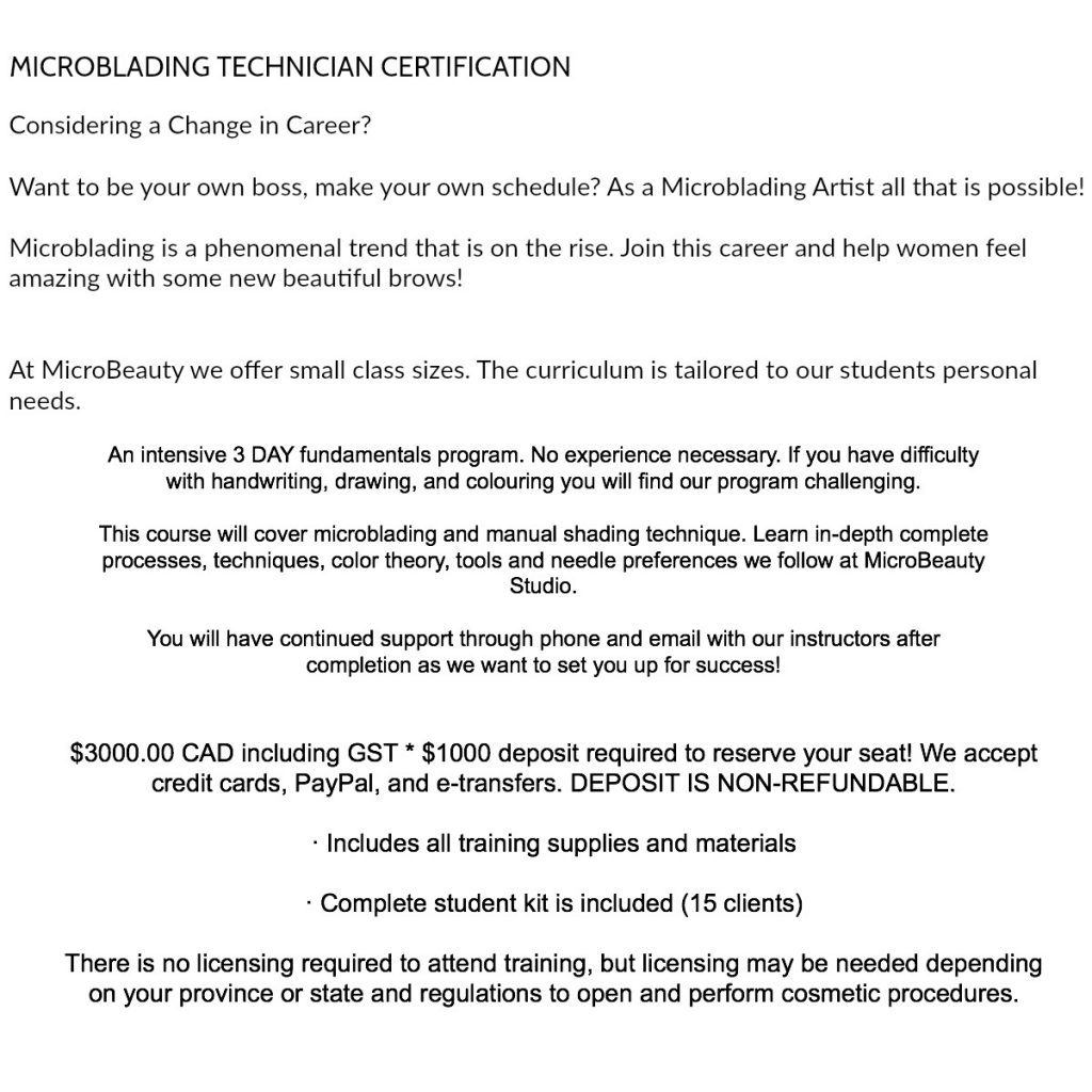 Microblading Technician Training Certification Course